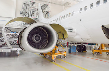 Detailed view of plane engine. Aircraft maintenance.