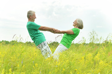 Happy senior couple in summer field