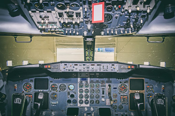 Aircraft dashboard. View inside the pilot's cabin.