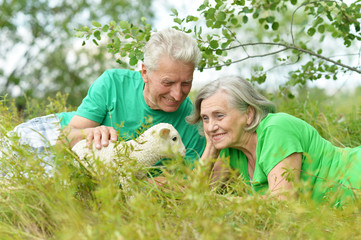 Elderly couple with toy sheep
