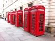 Obrazy na płótnie, fototapety, zdjęcia, fotoobrazy drukowane : 5 red phone boxes in London UK