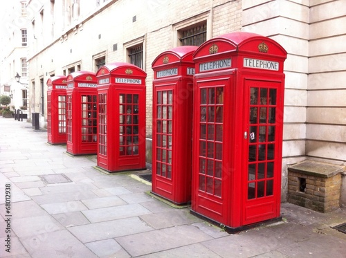 5 red phone boxes in London UK - 68012938