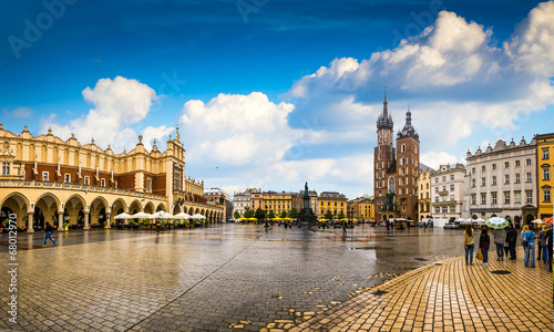 In de dag Krakau Krakow - Poland's historic center, a city with ancient