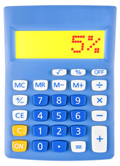 Calculator with 5% on display on white background
