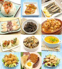 Collage de alimentos cocinados
