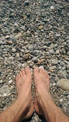 Feet on rocks