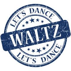 Waltz blue vintage grungy isolated round stamp