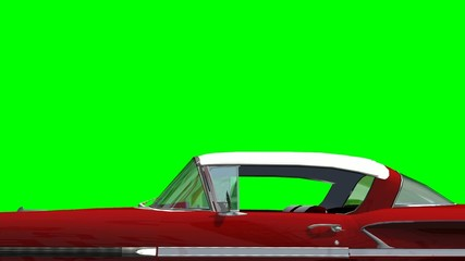Oldtimer Car driving animation - green screen