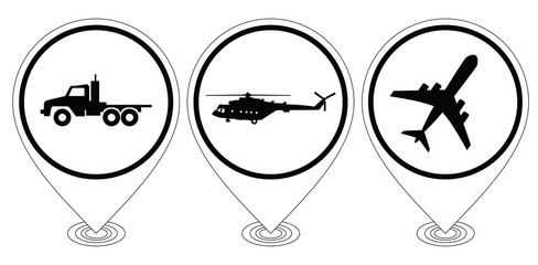 Black icons of aircraft, trucks, helicopters.  Raster