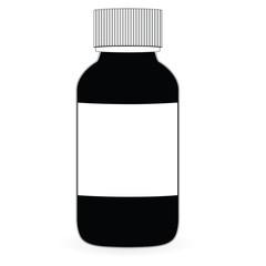 Glass of black liquid. Raster