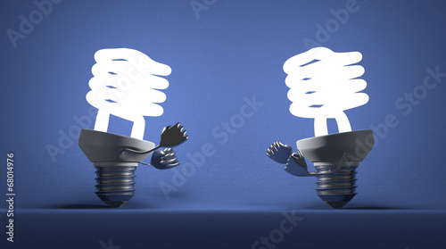 Glowing spiral light bulbs fighting with fists