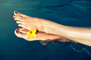 Beautiful feet above the water with a flower