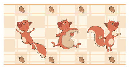 Border for wallpaper with squirrels  cartoon