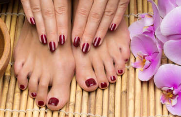 Pedicure and manicure in the salon spa