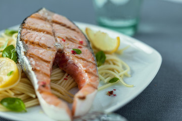 Gourmet grilled salmon steak