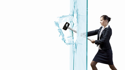 Woman breaking glass