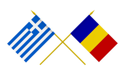 Flags, Greece and Romania