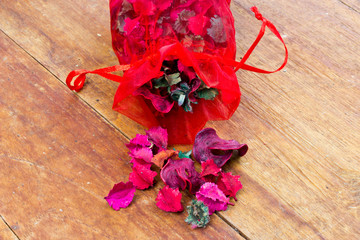 a potpourri sachet isolated on table