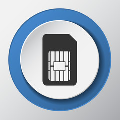sim card paper icon with shadow