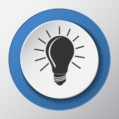 light bulb paper icon with shadow