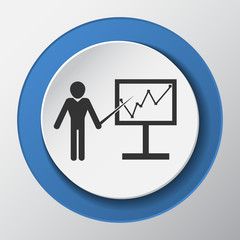 analytics paper icon with shadow