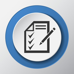 Writing paper icon with shadow