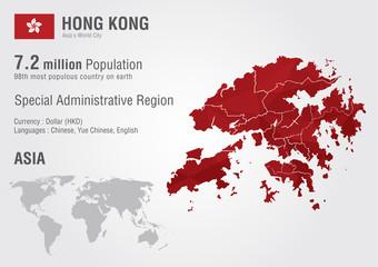 Hong Kong world map with a pixel diamond texture.