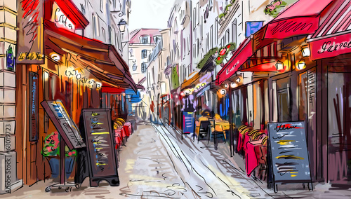 Leinwanddruck Bild Street in paris - illustration
