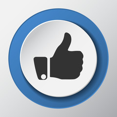Thumb Up paper icon with shadow