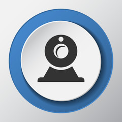 web camera paper icon with shadow