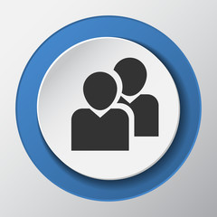 people, friends, buddy paper icon with shadow