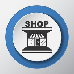 Shop paper icon with shadow