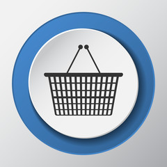 Shopping basket paper icon with shadow