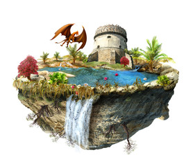 island with a dragon and tower castle