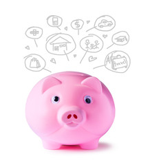 Pink piggy bank and icons design