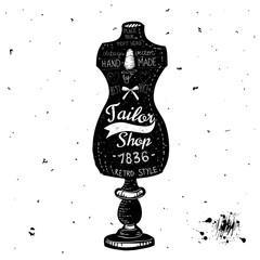 Vintage Sewing Kit Label Design - hand drawn illustration