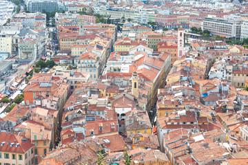 Panoramic view over the rooftops of Nice