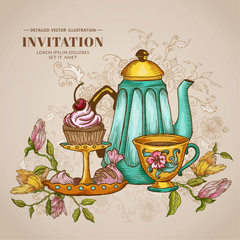 Vintage Menu or Invitation Card - with Teapot and Desserts