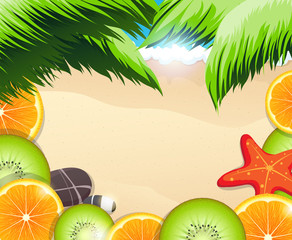 Tropical fruits slices on a background of the sea coast