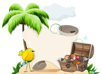Tropical island with treasure chest