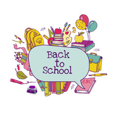 Back to School Set - school supplies, hand-drawn doodles