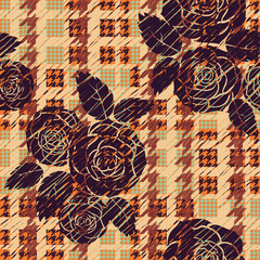 Hounds-tooth seamless pattern with roses