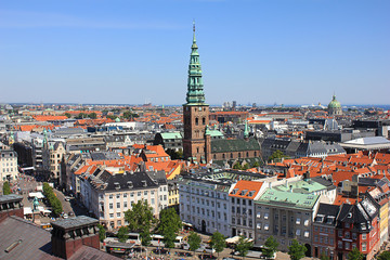 Areal view over Copenhagen, Denmark