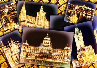 Collage of beautiful Prague.Night view.
