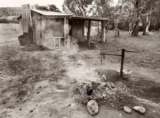 old cabin black and white Australia