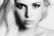 Beautiful Eyes of Young Woman.Blond girl.Art monochrome.effect