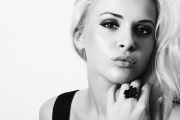 black and white beautiful blond woman. beauty girl.isolate