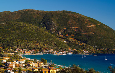 Panoramic view of Vasiliki village on Lefkada island, Greece