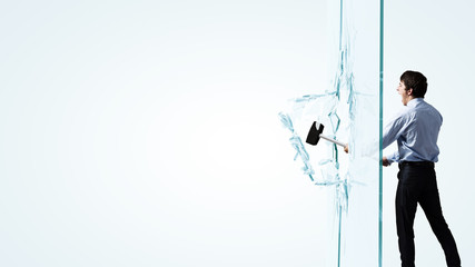 Man breaking glass