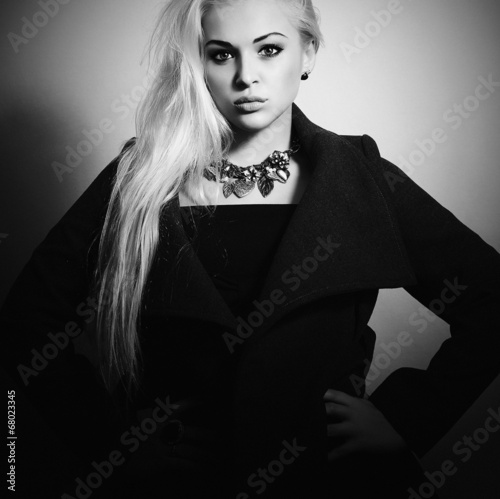 Beautiful Blond Woman in Topcoat. Fashionable Lady.Autumn